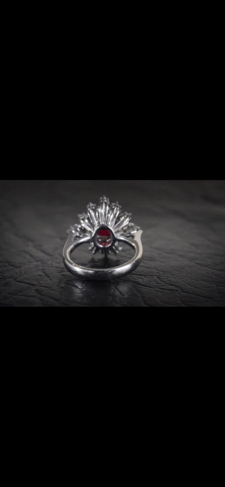 Triple Certified 4.09ct Natural Burmese Ruby & Diamond Cocktail Ring 18Kt Gold  For Sale 5