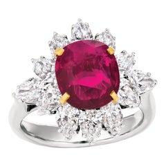 SSEF Certified 4.09 Carat Burmese Natural Ruby Diamond Platinum Cocktail Ring