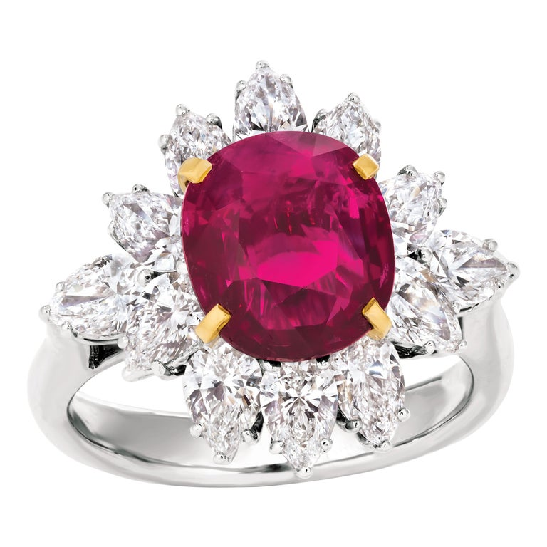 Triple Certified 4.09ct Natural Burmese Ruby & Diamond Cocktail Ring 18Kt Gold  For Sale