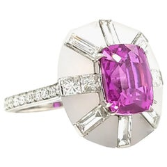 SSEF Certified 5.02 Carat Pink Sapphire Diamond Cocktail Ring