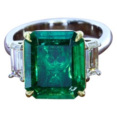 SSEF Certified 5.11 Carat Colombian Emerald Three-Stone Ring
