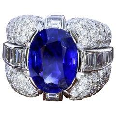 SSEF Certified 6.09 Carat Burmese Untreated Sapphire in a Diamond Ring