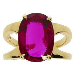 Chatila SSEF Certified 6.79 Antique Cushion Siam Ruby and Gold Ring
