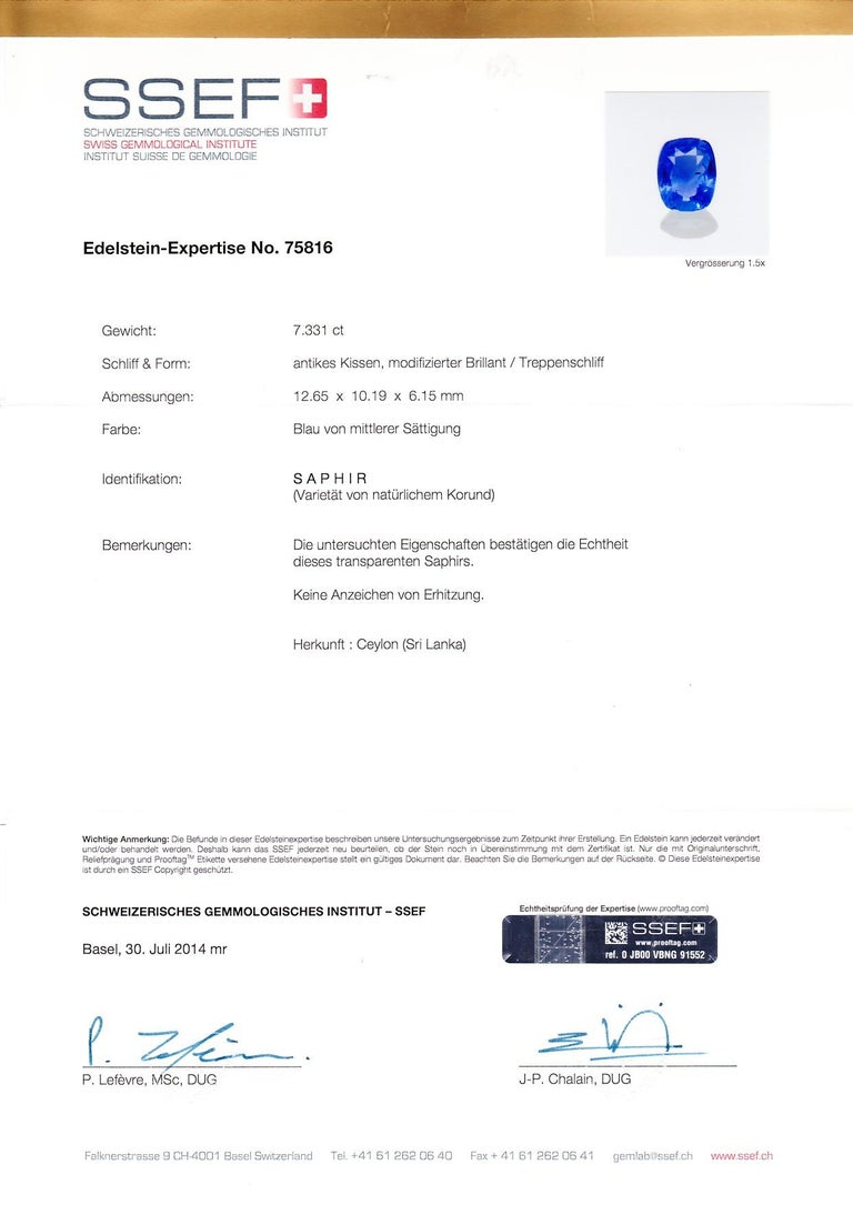 SSEF Lab Certificate are globally recognized and is fair to say are the leaders in Gemstones Research and Study. The Sapphire studded in this ring is certified by SSEF. The lab has certified, that the stone has not been treated by any process. The