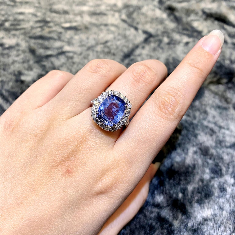 British Colonial SSEF Certified 7.33 Carat Sapphire No Heat Ring For Sale