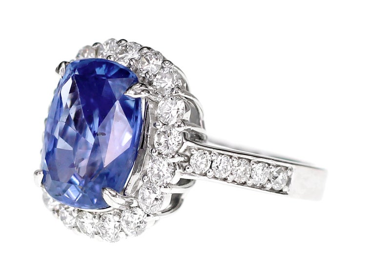 Cushion Cut SSEF Certified 7.33 Carat Sapphire No Heat Ring For Sale