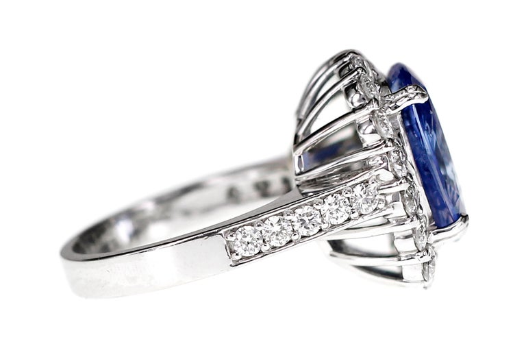 SSEF Certified 7.33 Carat Sapphire No Heat Ring In Good Condition For Sale In Hung Hom, HK
