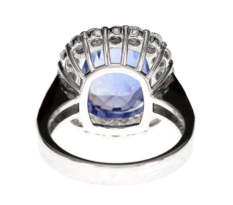 Women's or Men's SSEF Certified 7.33 Carat Sapphire No Heat Ring For Sale