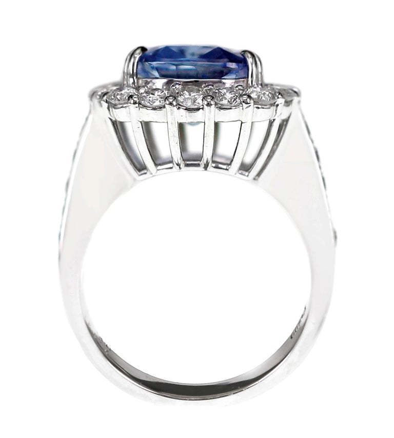 SSEF Certified 7.33 Carat Sapphire No Heat Ring For Sale 1