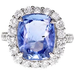 SSEF Certified 7.33 Carat Sapphire No Heat Ring
