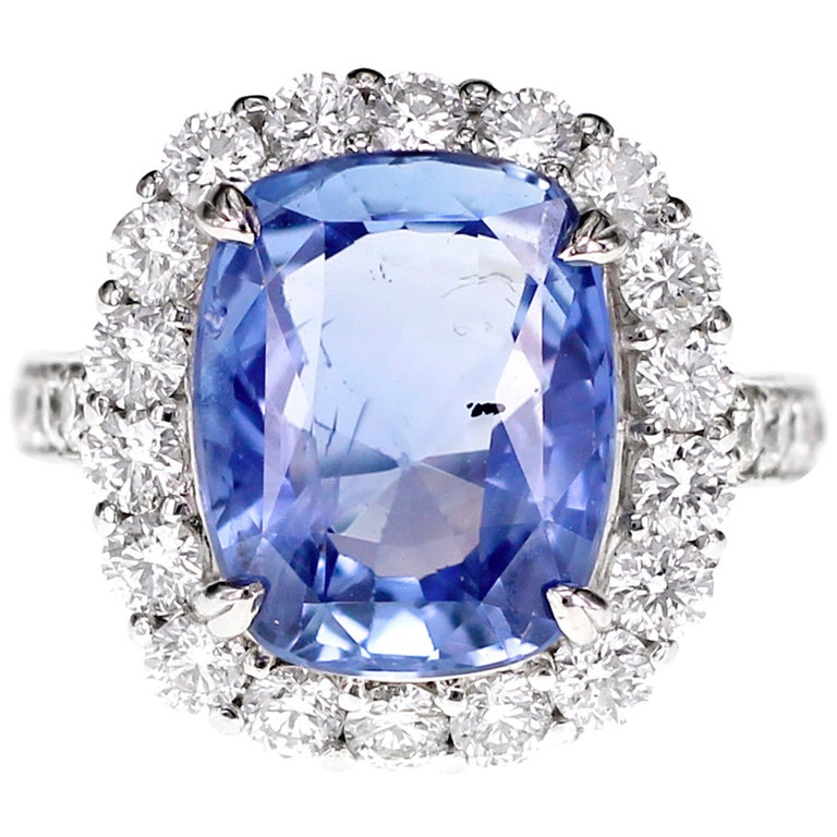 SSEF Certified 7.33 Carat Sapphire No Heat Ring For Sale