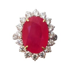 SSEF Certified 7ct Burmese Ruby and Diamonds 18kt White Gold Ring