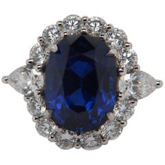 SSEF Certified 9.54 Carat Burmese No Heat Blue Sapphire and Diamond Ring