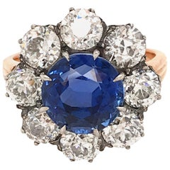 SSEF Certified Ceylon Sapphire No Heat and Diamond Cluster Ring