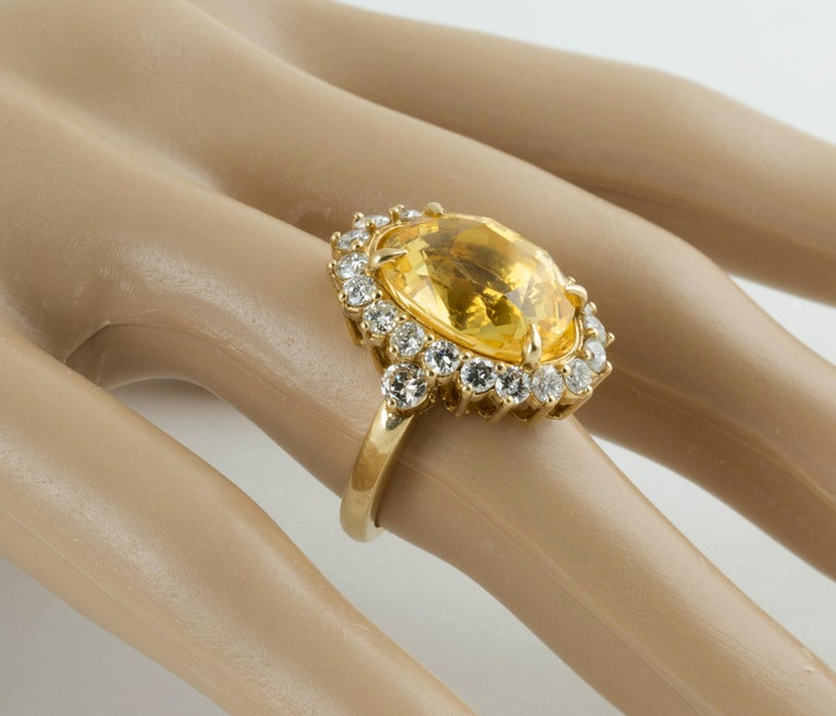 SSEF Certified Natural No Heat Yellow Sapphire Diamond Ring For Sale 1