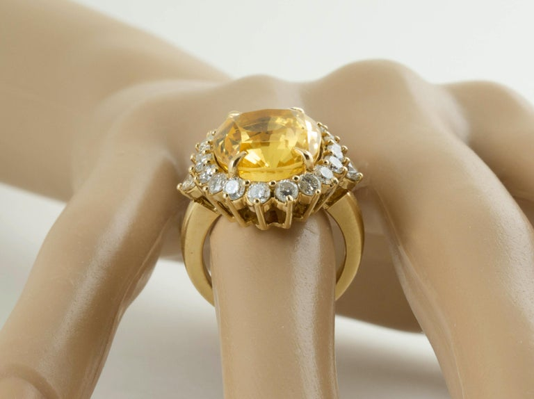 SSEF Certified Natural No Heat Yellow Sapphire Diamond Ring For Sale 3