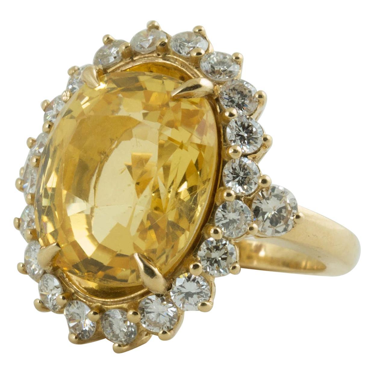 SSEF Certified Natural No Heat Yellow Sapphire Diamond Ring