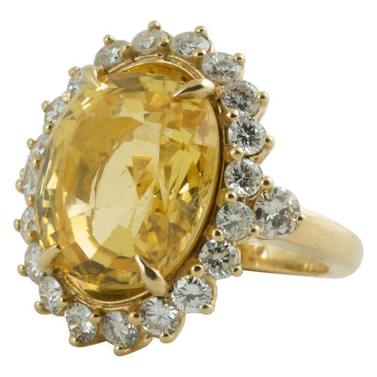 SSEF Certified Natural No Heat Yellow Sapphire Diamond Ring For Sale