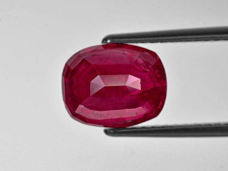 Modern SSEF Switzerland 7.30 Carat Burma Ruby No Heat Diamond Platinum Gold Ring For Sale