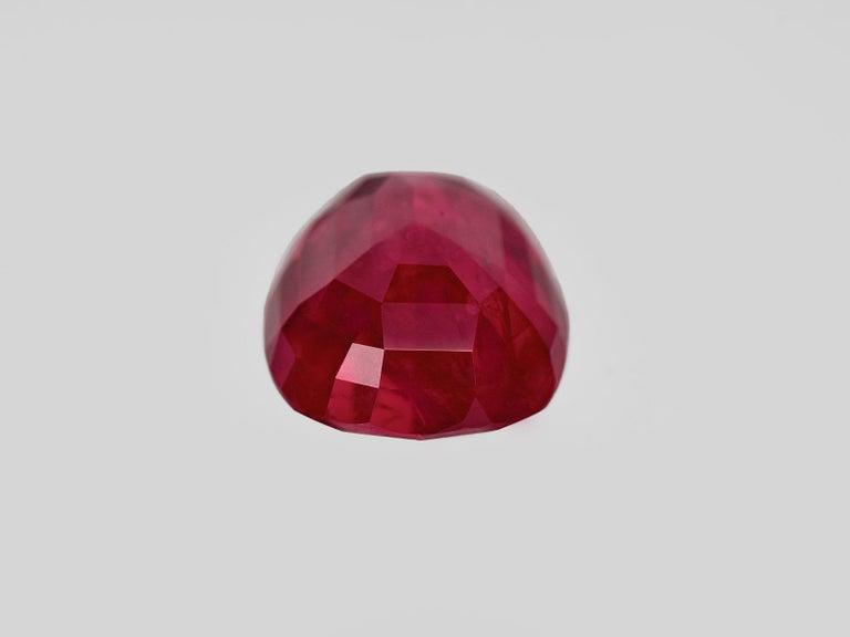 Antique Cushion Cut SSEF Switzerland 7.30 Carat Burma Ruby No Heat Diamond Platinum Gold Ring For Sale
