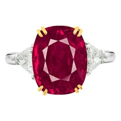 SSEF Switzerland 7.30 Carat Burma Ruby No Heat Diamond Platinum Gold Ring