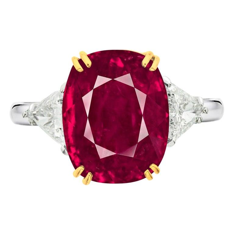SSEF Switzerland 7.30 Carat Burma Ruby No Heat Diamond Platinum Gold Ring For Sale