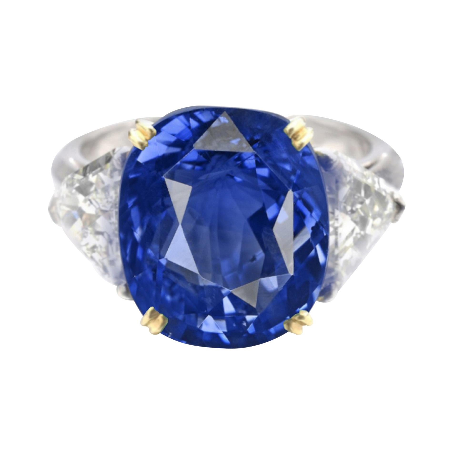 SSEF Switzerland 8 Carat Antique Cushion Ceylon Sapphire Diamond Platinum Ring