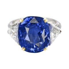 SSEF Switzerland 8 Carat Antique Cushion Ceylon Sapphire Diamond Platinum Ring