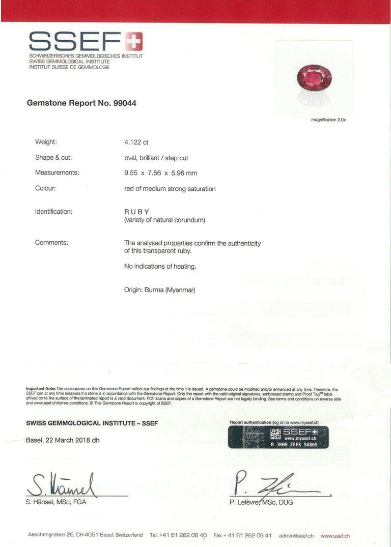 SSEFF Mogok Burma Myanmar 4 Carat Oval Fiery Red Ruby