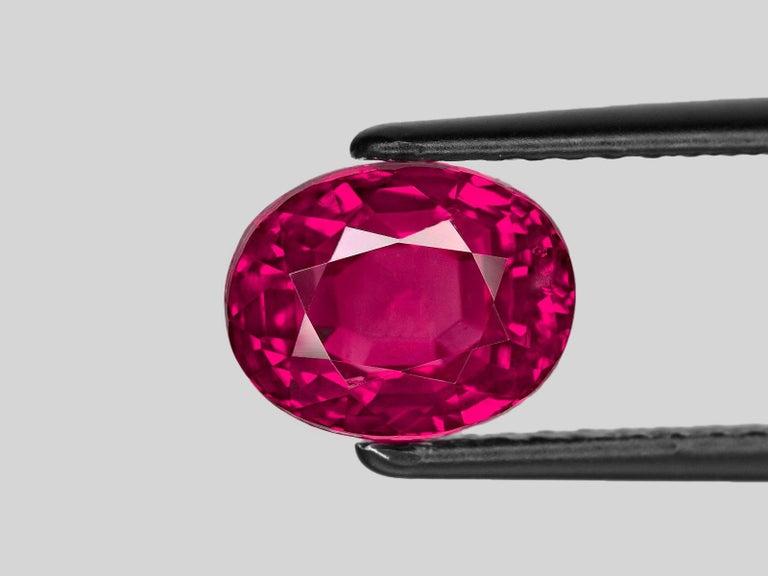 Modern SSEFF Mogok Burma Myanmar 4 Carat Oval Fiery Red Ruby For Sale