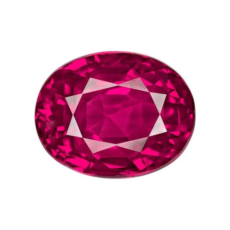 SSEFF Mogok Burma Myanmar 4 Carat Oval Fiery Red Ruby For Sale