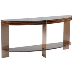 ST-91s Demilune Console with Shelf and Metal Legs by Antoine Proulx