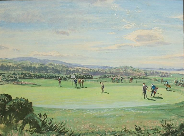 St Andrews Golf Painting by Arthur Weaver, Watercolor Painting For Sale 2