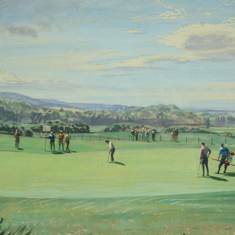 St Andrews Golf Painting by Arthur Weaver, Watercolor Painting For Sale 3