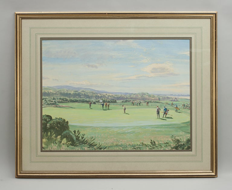 St Andrews Golf Painting by Arthur Weaver, Watercolor Painting For Sale 4