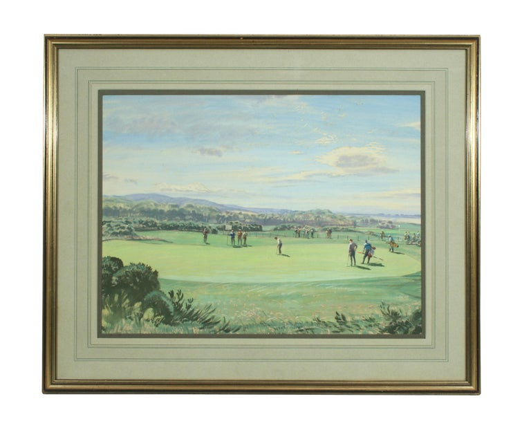 Hand-Painted St Andrews Golf Painting by Arthur Weaver, Watercolor Painting For Sale