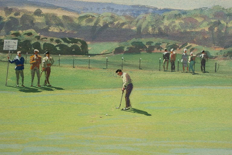 St Andrews Golf Painting by Arthur Weaver, Watercolor Painting In Good Condition For Sale In Oxfordshire, GB
