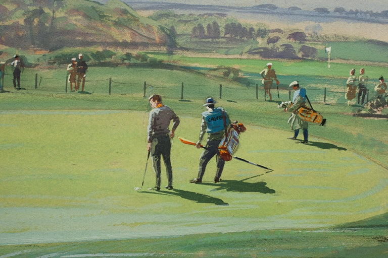 Paper St Andrews Golf Painting by Arthur Weaver, Watercolor Painting For Sale