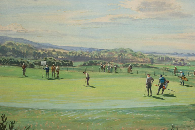 St Andrews Golf Painting by Arthur Weaver, Watercolor Painting For Sale 1