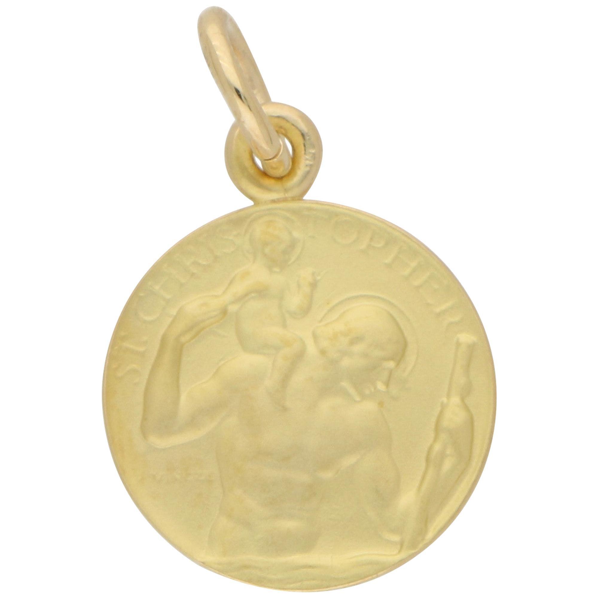 St. Christopher Pendant / Charm in 9 Karat Yellow Gold