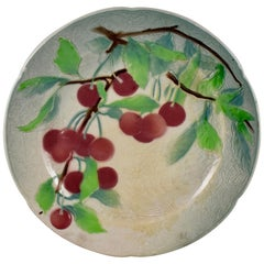 St. Clement French Faïence Cherry Fruit Plate, circa 1900