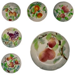 St. Clement French Faïence Fruit Plates, Set of 6 'C', circa 1900