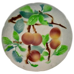 St. Clement French Faïence Peach Fruit Plate circa 1900