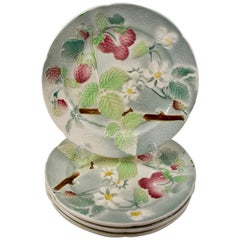 St. Clement French Faïence Strawberry Fruit Plates, Set of 4, circa 1900