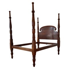 St. Croix Regency Four Poster Mahogany Queen Bed, 19th Century