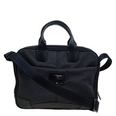 S.T. Dupont Black Textured Fabric Laptop Bag w/ Battery Pouch