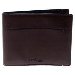 S.T. Dupont Brown Leather Line D Slim 7CC Bifold Wallet