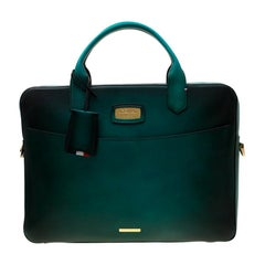 S.T. Dupont Green/Black Ombre Leather Atelier Document Holder Briefcase
