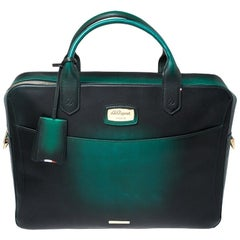 S.T. Dupont Green Ombre Leather Atelier Document Briefcase