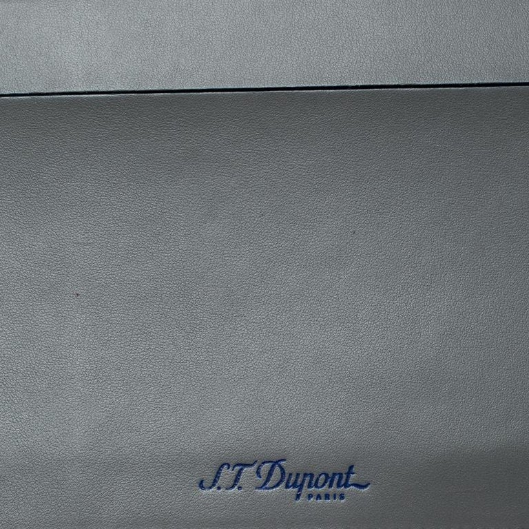 S.T. Dupont Grey Leather Plat Slim Organizer For Sale 5